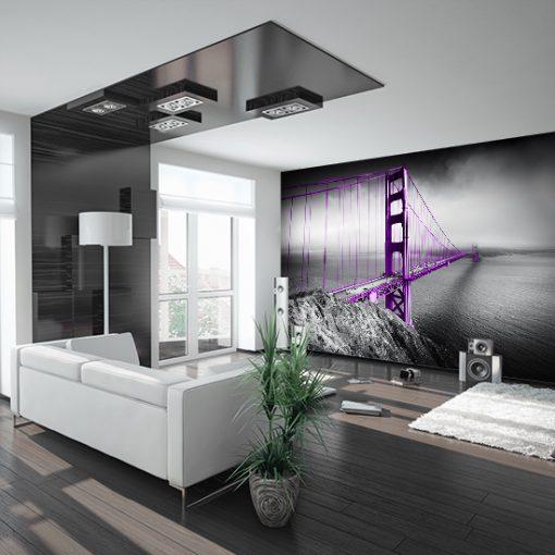 tapeta z fioletowym mostem do salonu