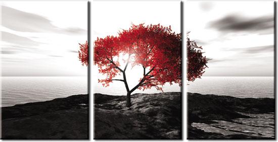 Tryptyk Z Samotnym Drzewem Na Skale W Kolorze Czerwonym