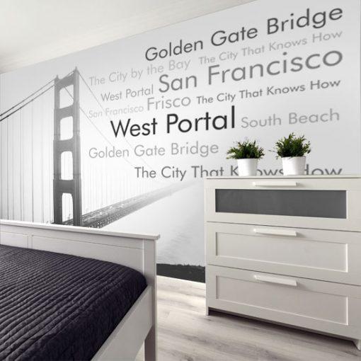 fototapeta most i napisy do sypialni
