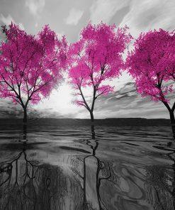 tapeta z różowymi drzewami