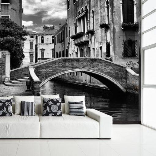 fototapeta do salonu z czarno-białym mostem