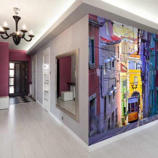 tapeta do przedpokoju kolorowa uliczka