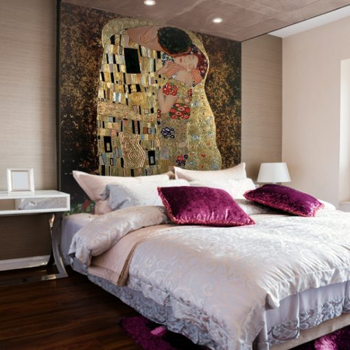 tapeta do sypialni nad łózko klimt