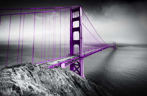 tapeta z fioletowym mostem Golden Gate