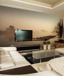 fototapeta z pomostem na ścianę do salonu