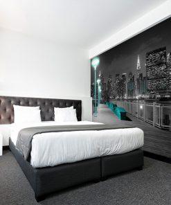 tapeta do sypialni z panoramą nowego jorku