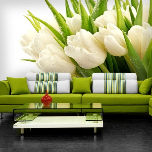 tapeta z białymi tulipanami do salonu