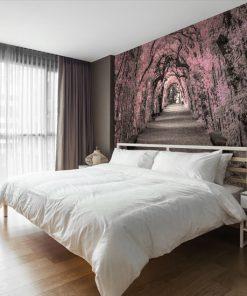 tapeta z aleją drzew nad łóżko