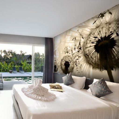 tapeta z dmuchawcami nad łóżko