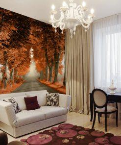 tapeta pomarańczowe drzewa do salonu