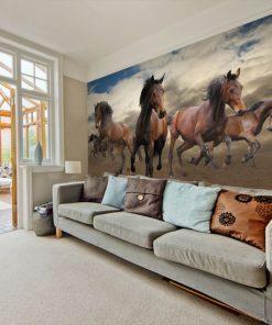 tapeta do salonu z końmi
