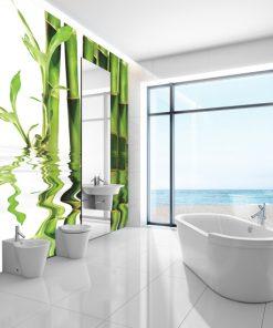 tapeta z zielonymi bambusami