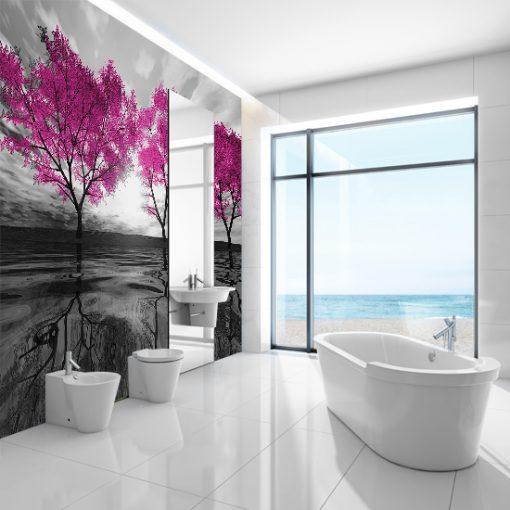 fototapeta drzewa różowe do łazienki