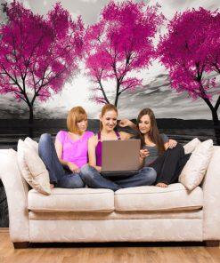 tapeta różowe drzewa do salonu
