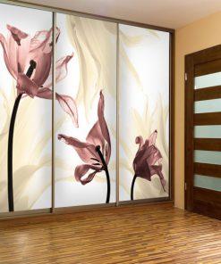 foto-tapeta z różowymi tulipanami do przedpokoju