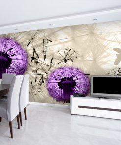 tapeta do salonu w fioletowe dmuchawce