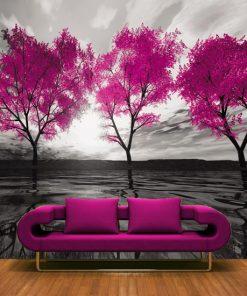 tapeta do salonu różowe drzewa