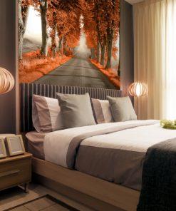 tapeta z pomarańczowymi drzewami do sypialni