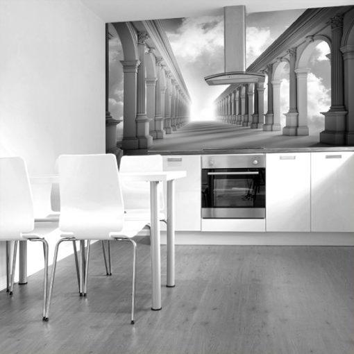 tapeta czarno-biała do kuchni
