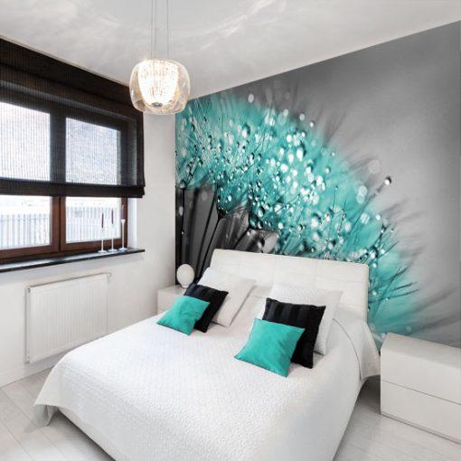 tapeta na ścianę za łóżkiem