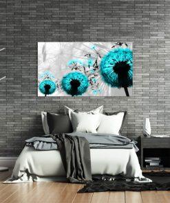 obraz z turkusowymi dmuchawcami na ścianę