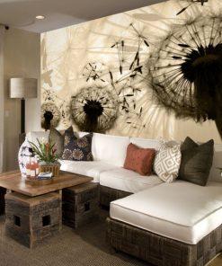 tapeta dmuchawce w sepii na ścianę