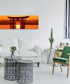 obraz do salonu z zachodem słońca i japońską bramą