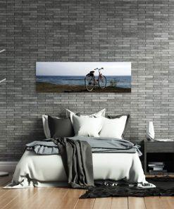 obraz panoramiczny krajobraz i rower