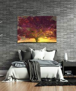 o9braz do sypialni zachód słońca i drzewo